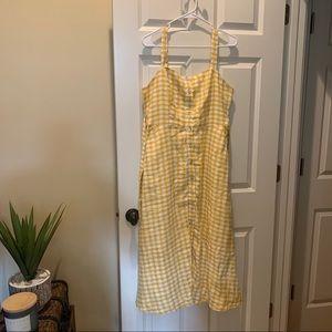 Cynthia Rowley Linen Yellow Gingham Dress 6